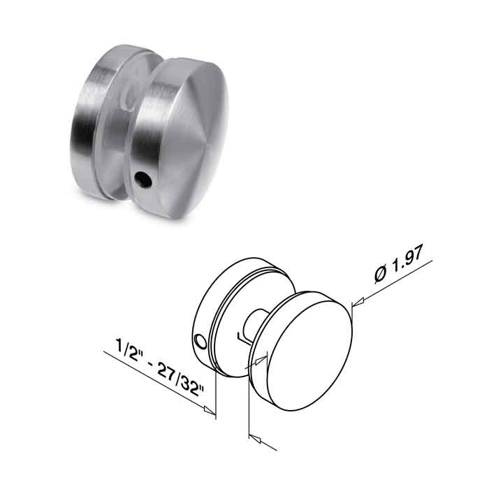 "1.97"" dia. Glass to Glass Connector, 316 Satin Stainless Steel"