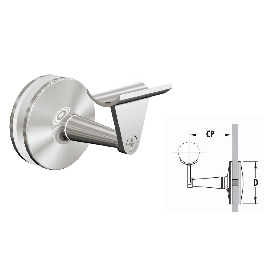 """Glass Mount Rail Brackets for 1-1/2"""" and 2"""" dia. tubing, 316 Satin Stainless Steel"""