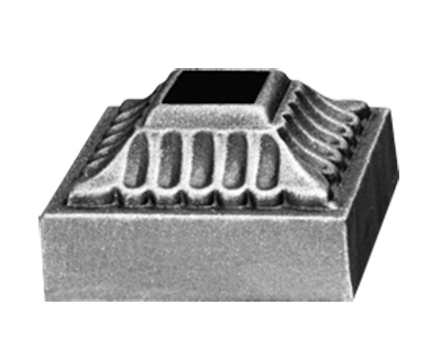 """Base Shoe for 9/16"""" sq., Cast Iron, 2"""" sq. Base, Zinc Plated"""