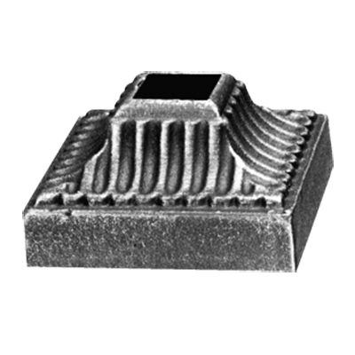 """Base Shoe for 5/8"""" sq., Cast Iron, 2-3/8"""" sq. Base, Zinc Plated"""