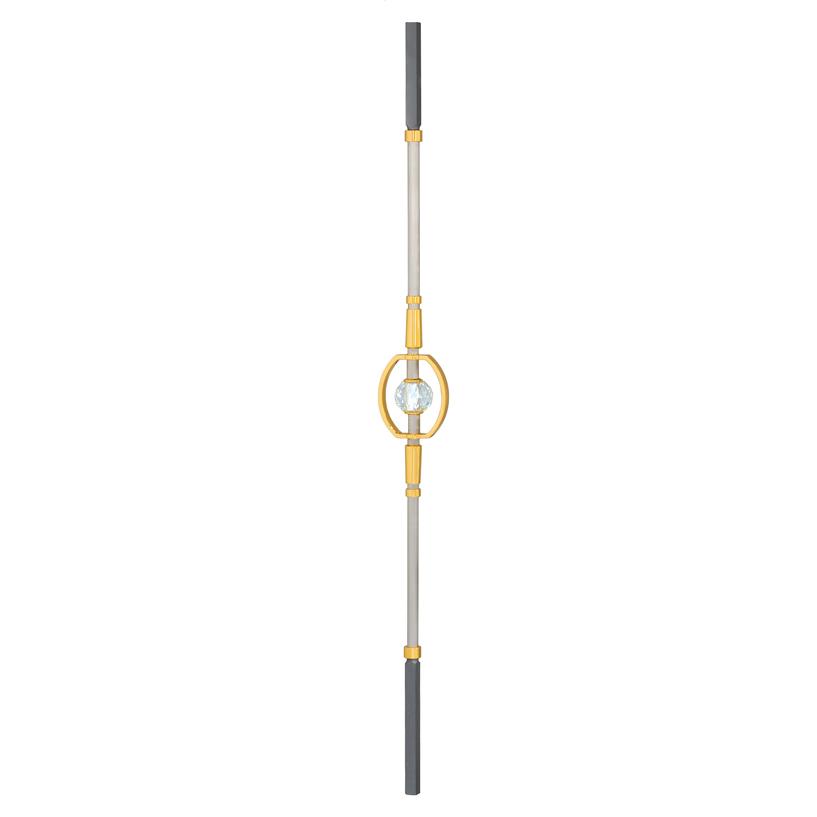 "5/8"" sq. Brass Baluster w/Nickel Finish & Brass/Crystal Center, Diamond Series"