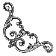 """10"""" Tall Steel Casting, Scroll/Leaf Design, Double Faced"""