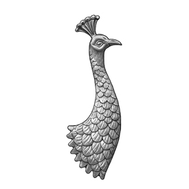 """15"""" Tall Steel Casting, Peacock Design, Double Faced"""