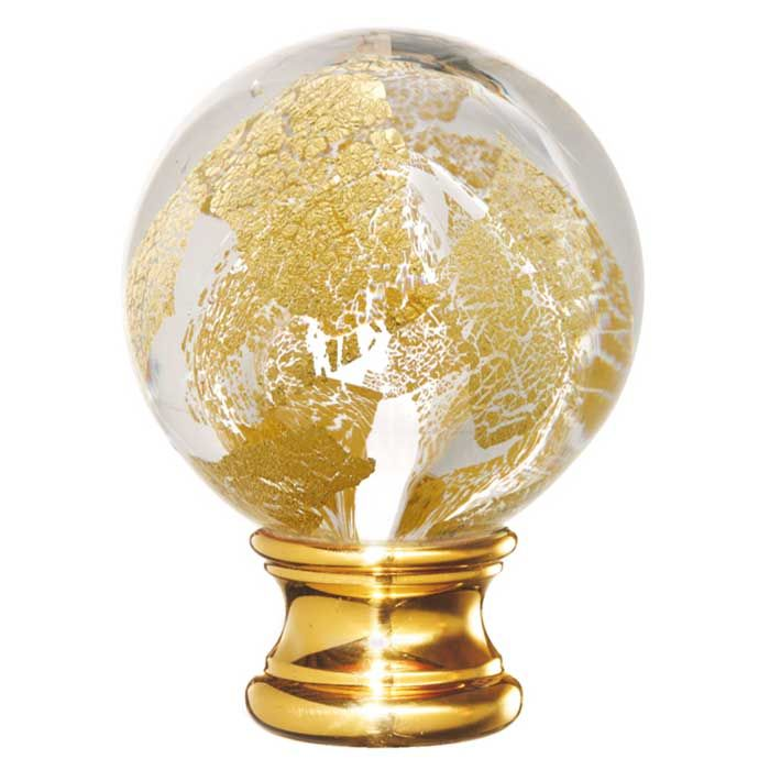 Glass Blown Globe Post Top w/Gold Sparkles by Grande Forge