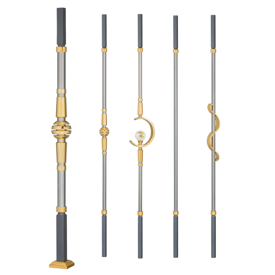 Grande Forge Modern Series Square Posts & Balusters w/Brass Accents