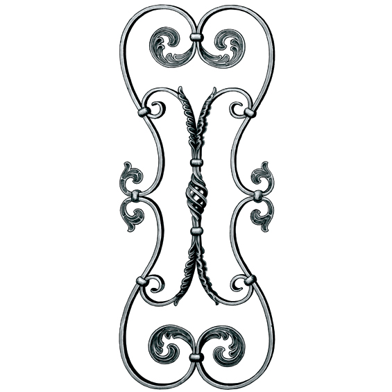 """5/8"""" x 5/16"""" Steel Scroll Panel w/Leaves/Cage, 34-5/8"""" Tall, Mozart Series"""