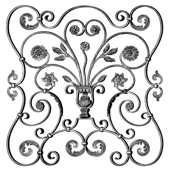 "5/8"" x 5/16"" Steel Scroll Panel w/Spray of Flowers/Leaves, 34-5/8"" Tall, Mozart Series"