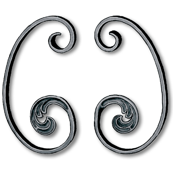 Left and Right Steel C-Scrolls w/Leaf in Mozart Series