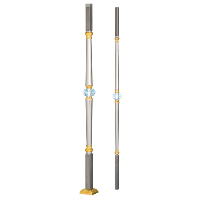Grande Forge Paris Series Post & Baluster with Swarovski Crystal, Guilloched Steel Ends