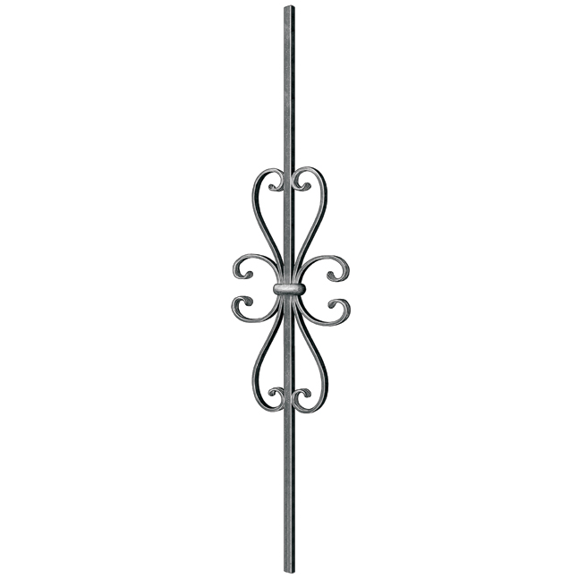 """1/2"""" sq. Steel Baluster w/ 17-3/4"""" Scroll, Tradition Series"""
