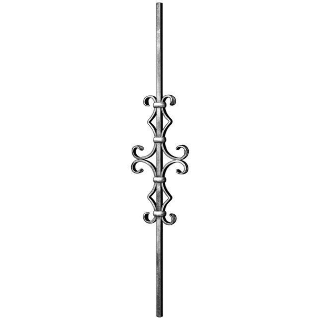 """1/2"""" sq. Steel Baluster w/ 16-1/8"""" Scroll, Tradition Series"""