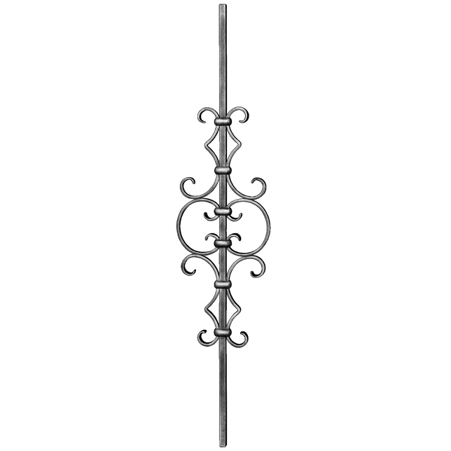"""1/2"""" sq. Steel Baluster w/ 21-1/4"""" Scroll, Tradition Series"""