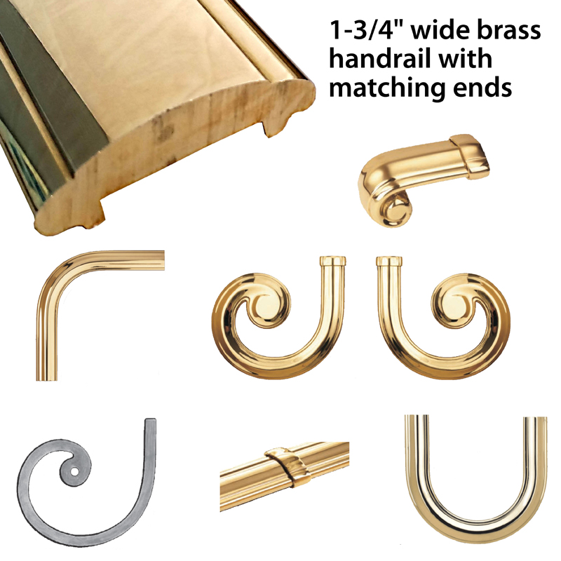 """Rough-Laminated Brass Lateral Scrolls and Fittings for 1-3/4"""" Brass Handrail by Grande Forge"""