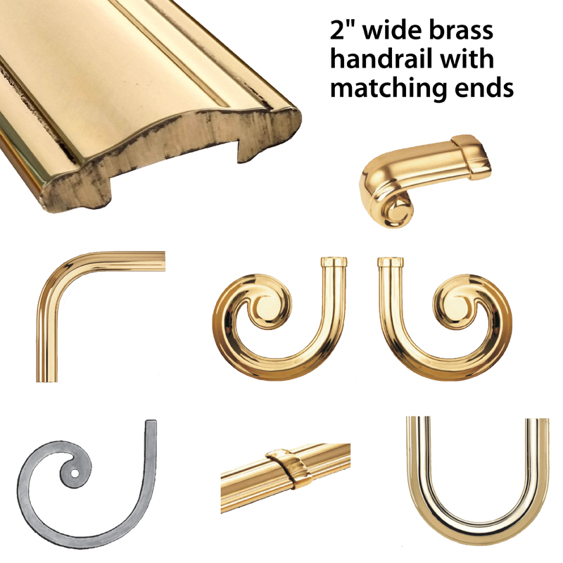 "Rough-Laminated Brass Lateral Scrolls and Fittings for 2"" Brass Handrail by Grande Forge"