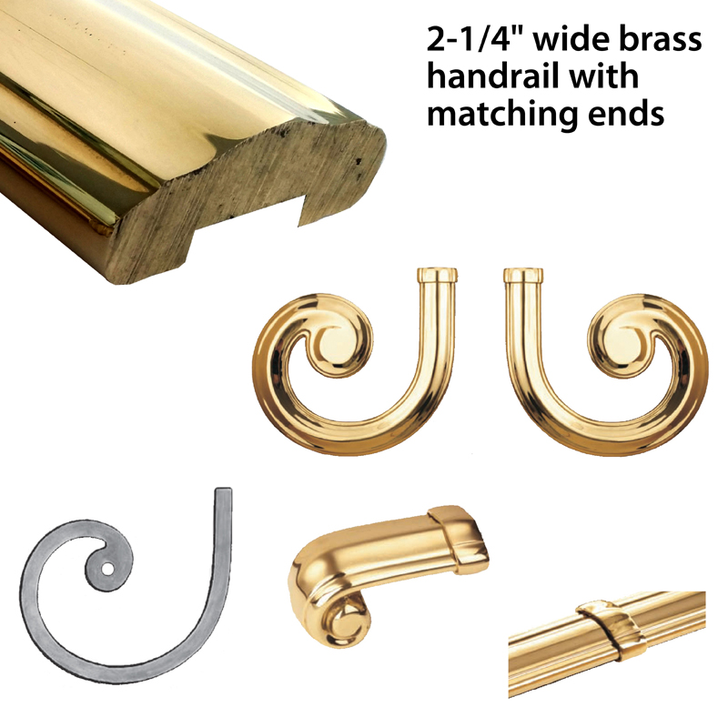 """Rough-Laminated Brass Lateral Scrolls and Fittings for 2-1/4"""" Brass Handrail by Grande Forge"""