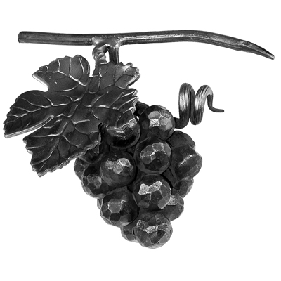 "7-3/32"" Tall Steel Grape Cluster with Leaf and Tendril"