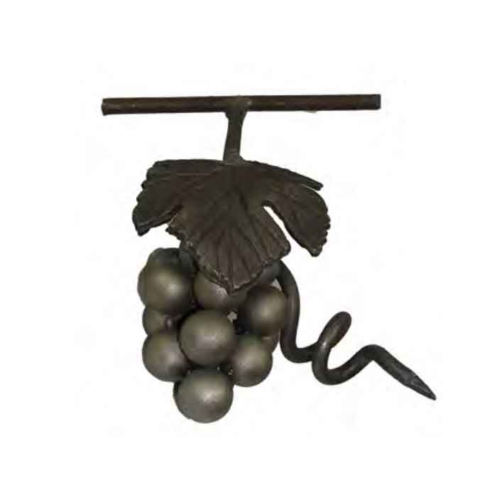 "6-5/8"" Tall Steel Grape Cluster w/Leaf, Tendril, Stem and Vine"