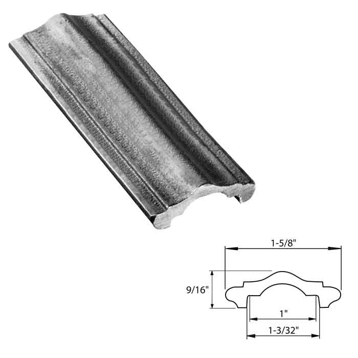 "1-5/8"" wide Steel Handrail Molding, Hot Rolled, 20FT"