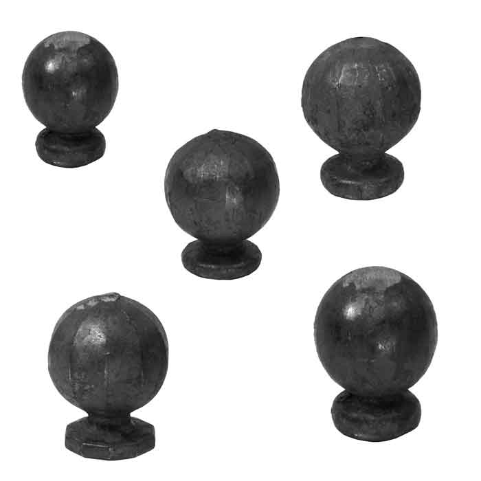 Decorative Steel Hand Forged Ball Post Tops with Round Bases