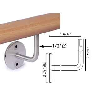 "Woodinox Handrail Support w/ 1/2"" dia. Bracket Arm, Wall Mount, 304 Satin Stainless Steel"