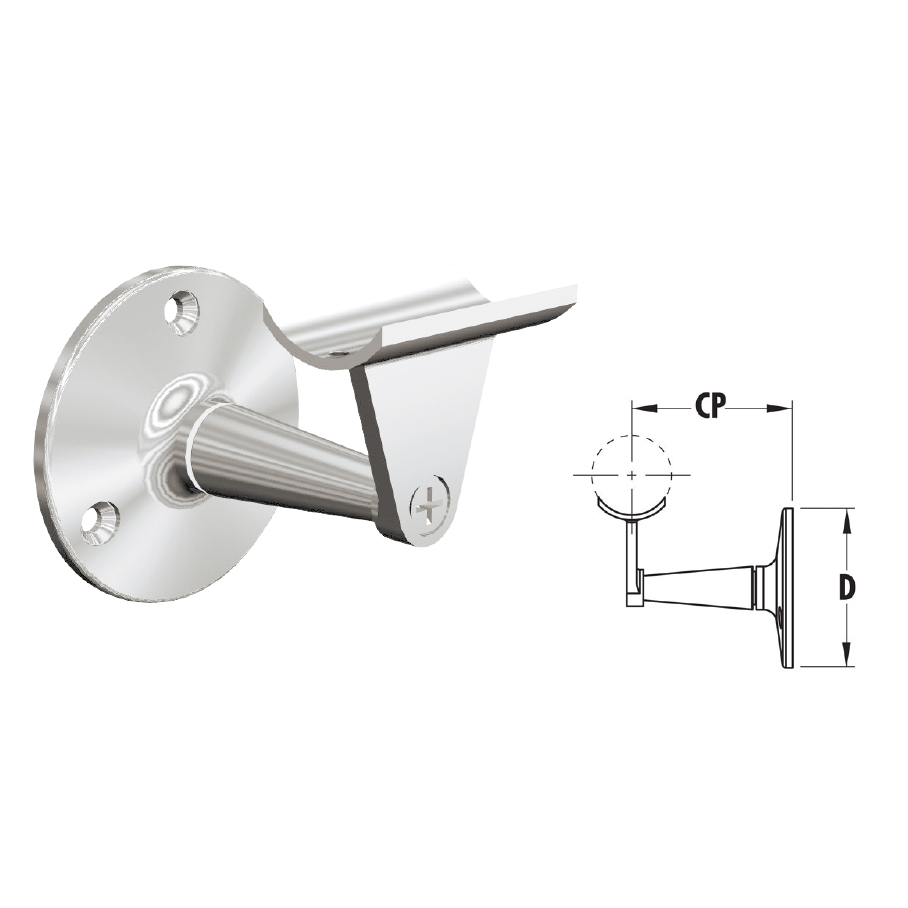 """Handrail Brackets in 316 Satin Stainless Steel for 1-1/2"""" and 2"""" dia. tubing"""