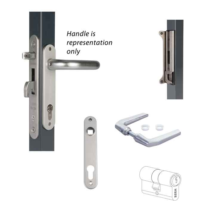 "Insert lock set aluminum cover plates and handles with weld box for 2"" frames including: FORTYLOCK, 3020-HYB-ALU, 3006M-H, 3012-60-STD-VSZ, SFKB-QF"