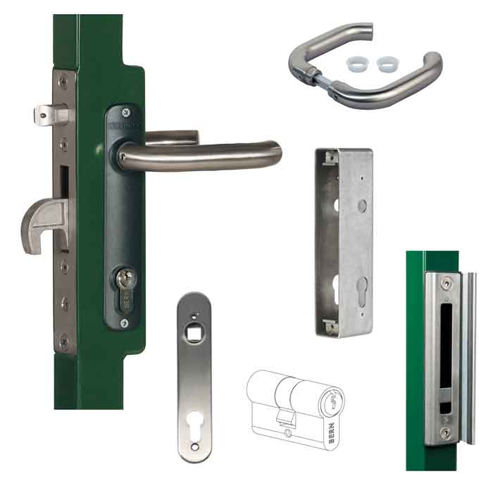 "Insert lock set stainless steel cover plates and handles with weld box for 2"" frames including: H-METAL-WB, 3020-HYB-A2, 3006I-H, 3012-60-STD-VSZ, HWLB, SF-KLALUMQF"