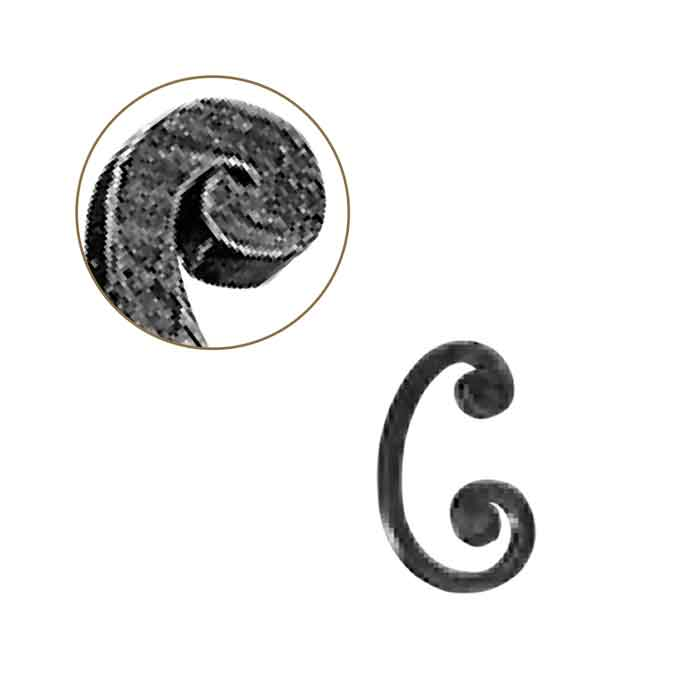 """1/2"""" sq. Forged Steel C-Scroll w/Flat Button Ends w/smaller top curl, 3-1/2"""" wide by 6"""" Tall"""