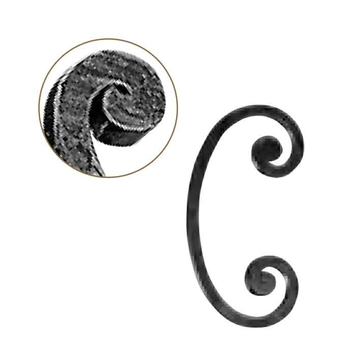 """1/2"""" sq. Forged Steel C-Scroll w/Flat Button Ends, 5-1/8"""" wide by 9-7/8"""" Tall"""