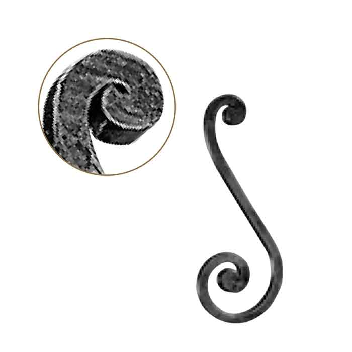 """1/2"""" sq. Forged Steel S-Scroll w/Flat Button Ends, 4-5/16"""" wide by 11-7/16"""" Tall"""