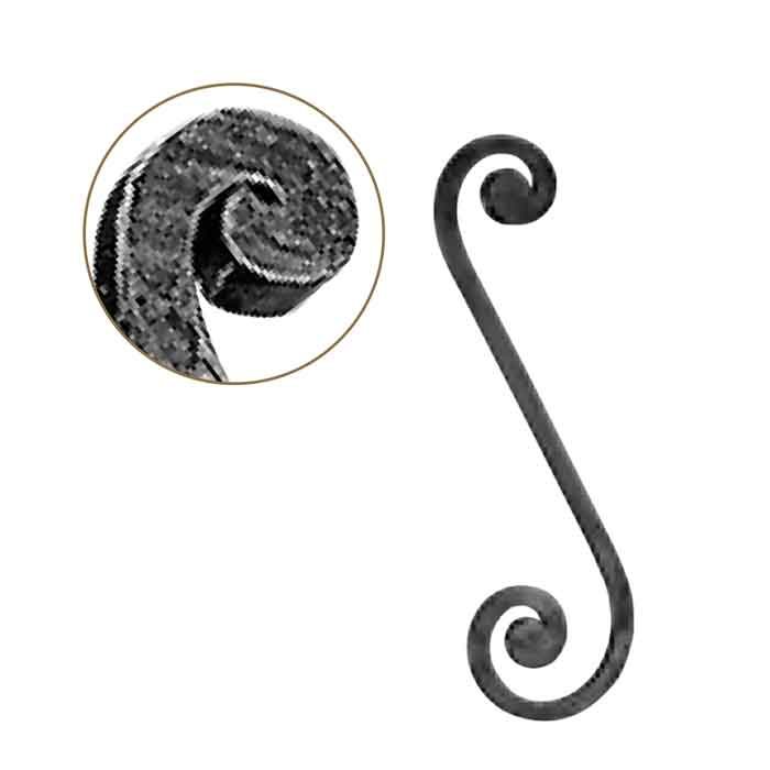 """1/2"""" sq. Forged Steel S-Scroll w/Flat Button Ends w/smaller top curl, 4-5/16"""" wide by 14-3/4"""" Tall"""