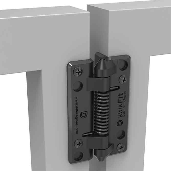 KwikFit Self-Closing Polymer Gate Hinges, 44lbs/pair, for Metal, Wood & Vinyl Gates