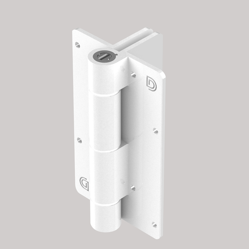 Aluminum Adjustable Self-Closing Gate Hinge, 2 Side Fixing Legs, Pair with Screws - White