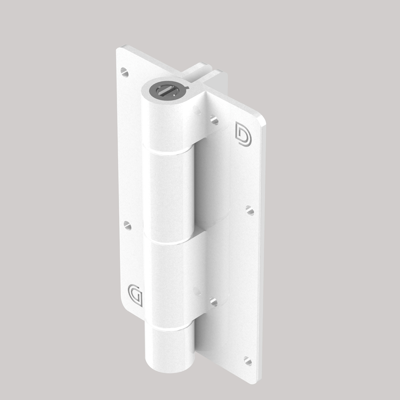 Aluminum Adjustable Self-Closing Gate Hinge, Alignment Ridges, Pair with Screws - White