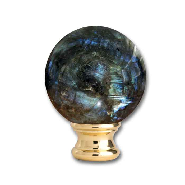 """Labradorite Ball Post Top, Brass base of 2-1/8"""" dia., from Grande Forge"""