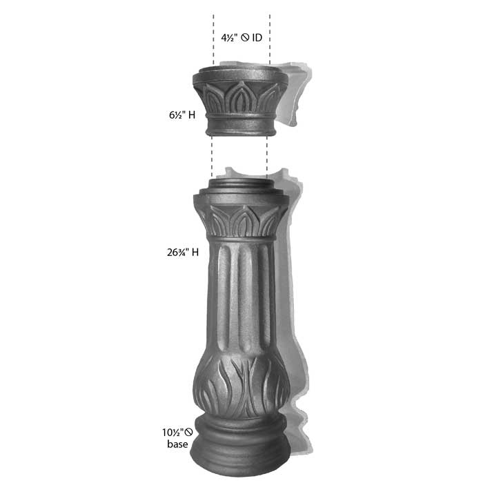 """10-1/2"""" Round Base Cast Iron Fence Post with Collar"""