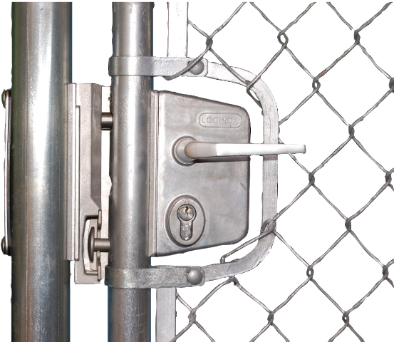 "Chain Link Swing Gate Lock Kit for 1-5/8"" round frames, Silver, Includes LUKY40JSL, SHKLQFAL, 3019LA, 6403 & CLH"