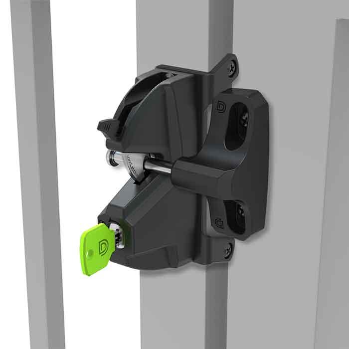 Lokk-Latch Plus Key-Lockable Privacy Gate Latch, Keyed Alike, Black