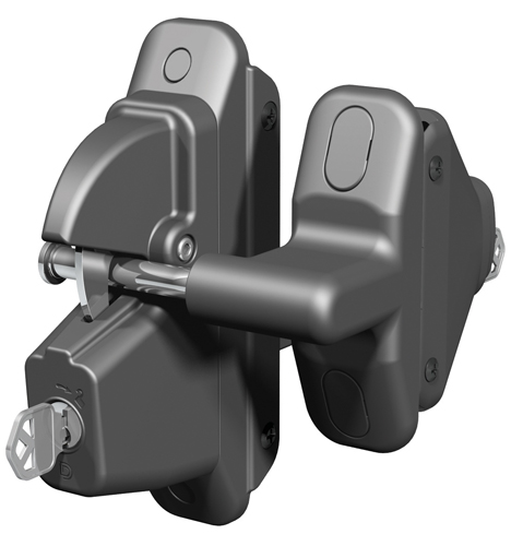 Lokk-Latch PRO SL Keyed Alike Self-Locking Gate Latch for Metal & Wood Gates, Black