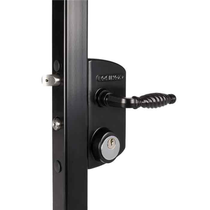 Industrial Security Locks w/Schlage C, 5 pin Cylinder for Swing Gates, Black, Mfg Locinox
