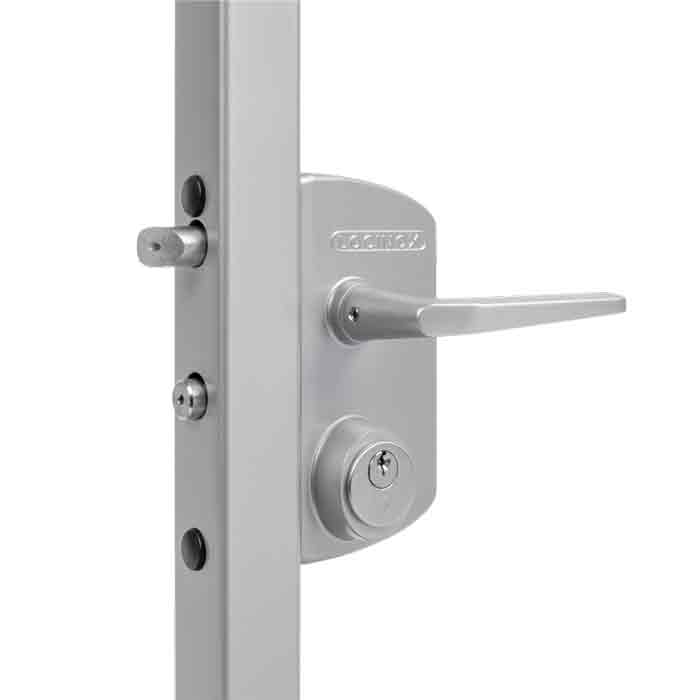 Industrial Security Locks w/Schlage C, 5 pin Cylinder for Swing Gates, Silver, Mfg Locinox