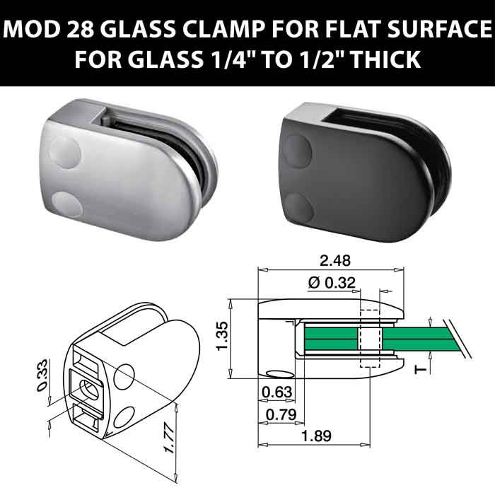 """MOD 28 Rounded Glass Clamps for Flat Surface for 1/4"""" to 1/2"""" Thick Glass"""