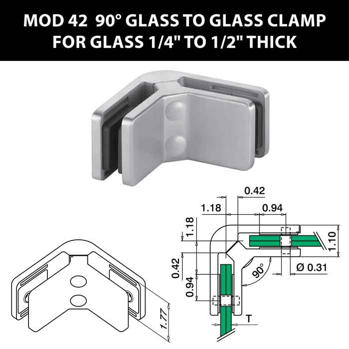"""MOD 42 90 degree Glass to Glass Clamps for 1/4"""" to 1/2"""" Thick Glass"""