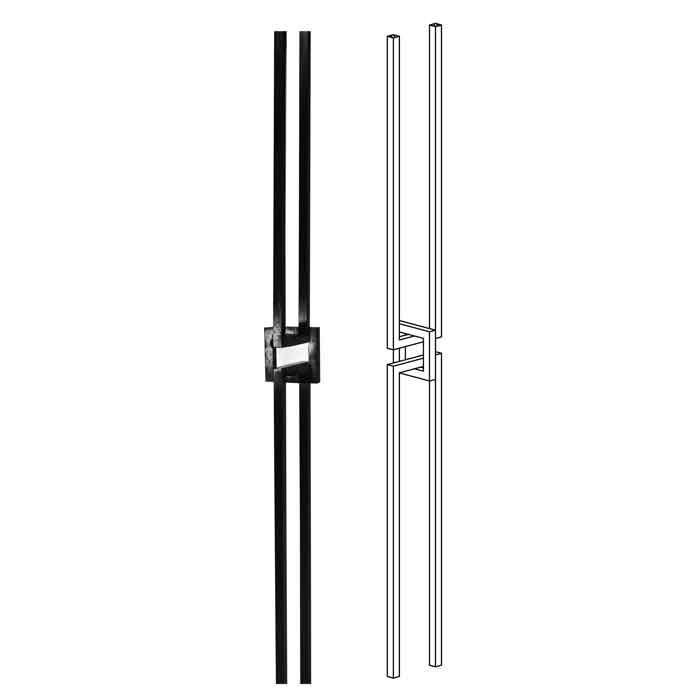 """1/2"""" sq. Forged Steel Baluster with Center Square, 40"""" Tall"""