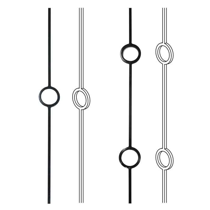 Modern Steel Balusters with Circles
