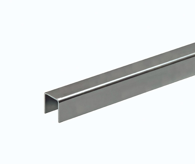 """Guide Rail for Side Mount, 1-1/2"""" U-Channel, Galvanized, 9'10"""" Long"""