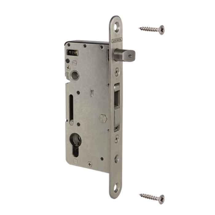 "Mortise Lock for Wood Gates, Stainless Steel, 2-3/8"" Backset"