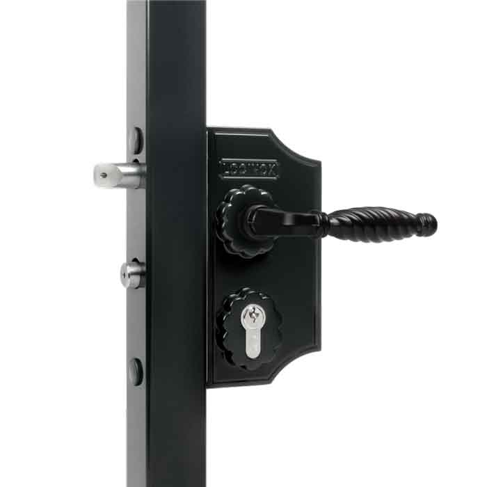 Ornamental, Narrow Body Swing Gate Lock, Black, Mfg Locinox