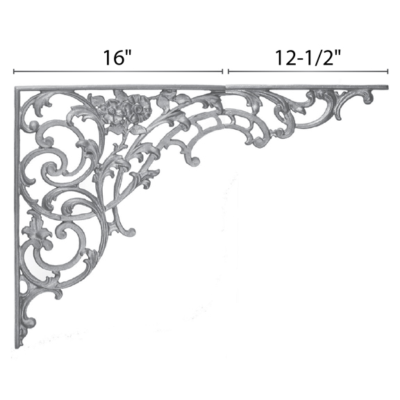 "21-1/2"" Tall Cast Iron Bracket, Bird of Paradise Style, 2 pieces, Double Faced"