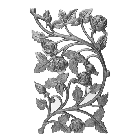 """14-1/2"""" Tall Cast Iron Panel, Rose Style, Double Faced"""